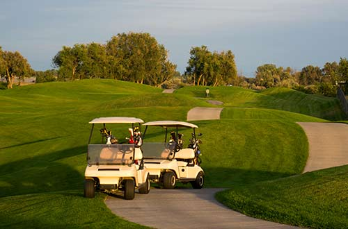 Two golf carts on a golf course